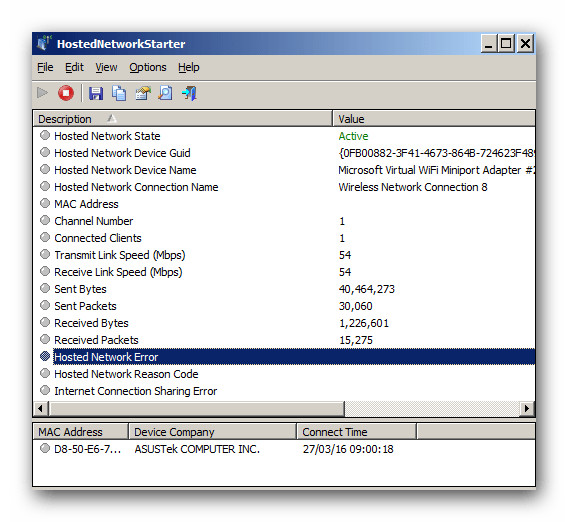 Главное окно программы HostedNetworkStarter