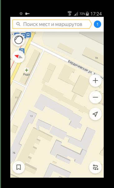 Главное окно с картой Яндекс.Транспорт