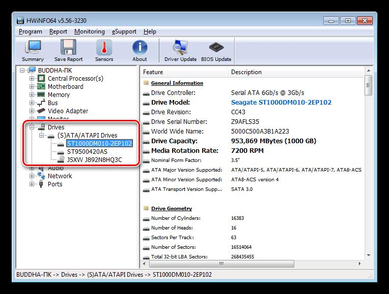 Информация о жестких дисках и приводах в программе HWiNFO