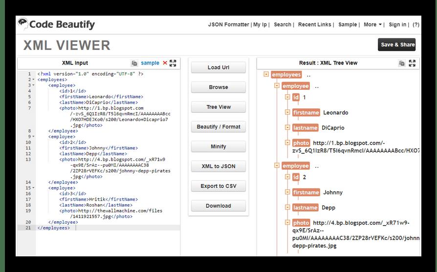 Интерфейс онлайн-редактора XML-файлов в сервисе Code Beautify