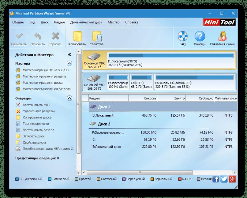 Интерфейс программы MiniTool Partition Wizard Server 9.0
