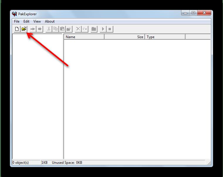 Кнопка Open на панели инструментов Pak Explorer