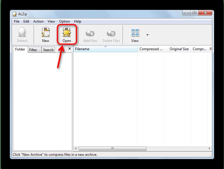 Кнопка Open в панели инструментов ALZip