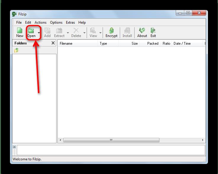 Кнопка Open в верхней панели FilZip