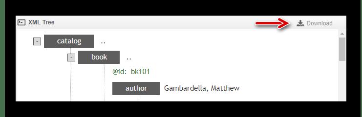 Кнопка для загрузки готового XML-файла в онлайн-редакторе сервиса TutorialsPoint