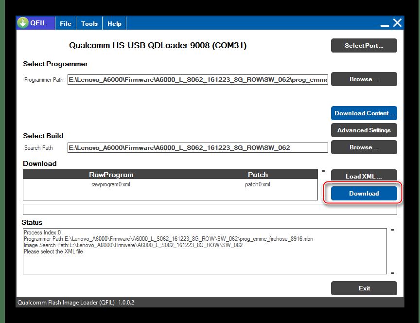 Lenovo A6000 начало прошивки через QFIL кнопка Download