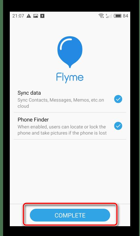 Meizu M2 Note Flyme-аккаунт добавлен