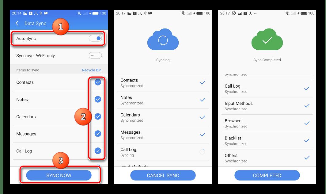 Meizu M2 Note Синхронизация данных Прогресс - Готово
