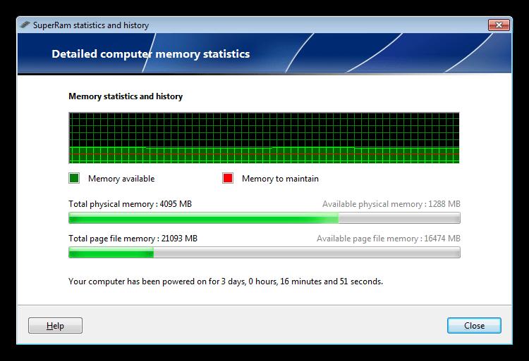 Монитор использования оперативной памяти в программе SuperRam