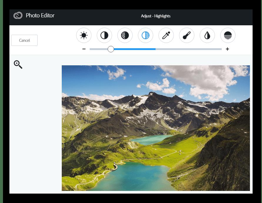 Настройки изображения Онлайн-фоторедактор Aviary
