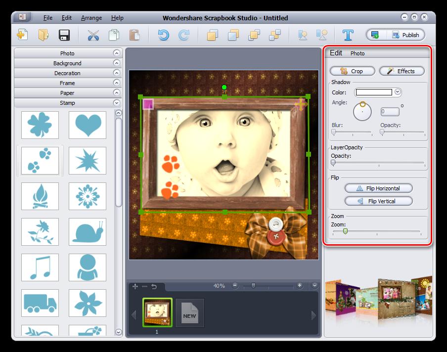 Обработка элементов страницы в программе Wondershare Scrapbook Studio