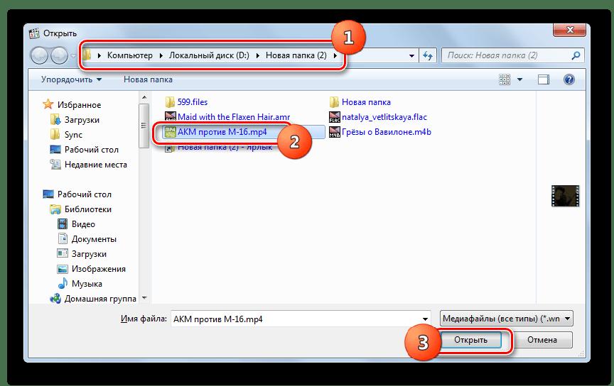 Окно открытия файла в программе Media Player Classic