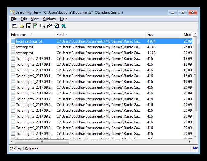 Окно результатов поиска в программе SearchMyFiles