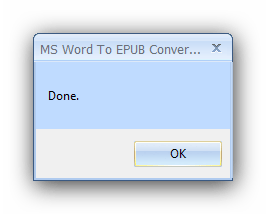 Окно завершения работы MS Word to Epub Converter