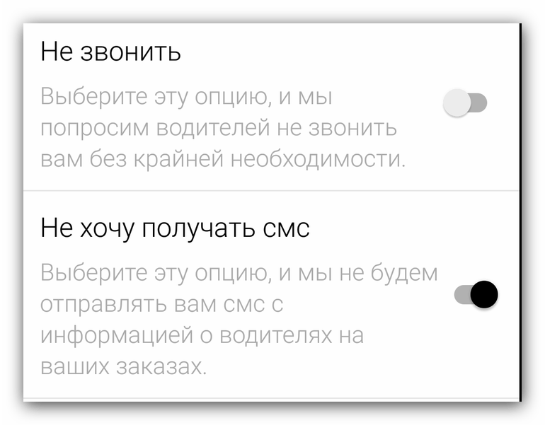 Опции связи с водителями Яндекс Такси