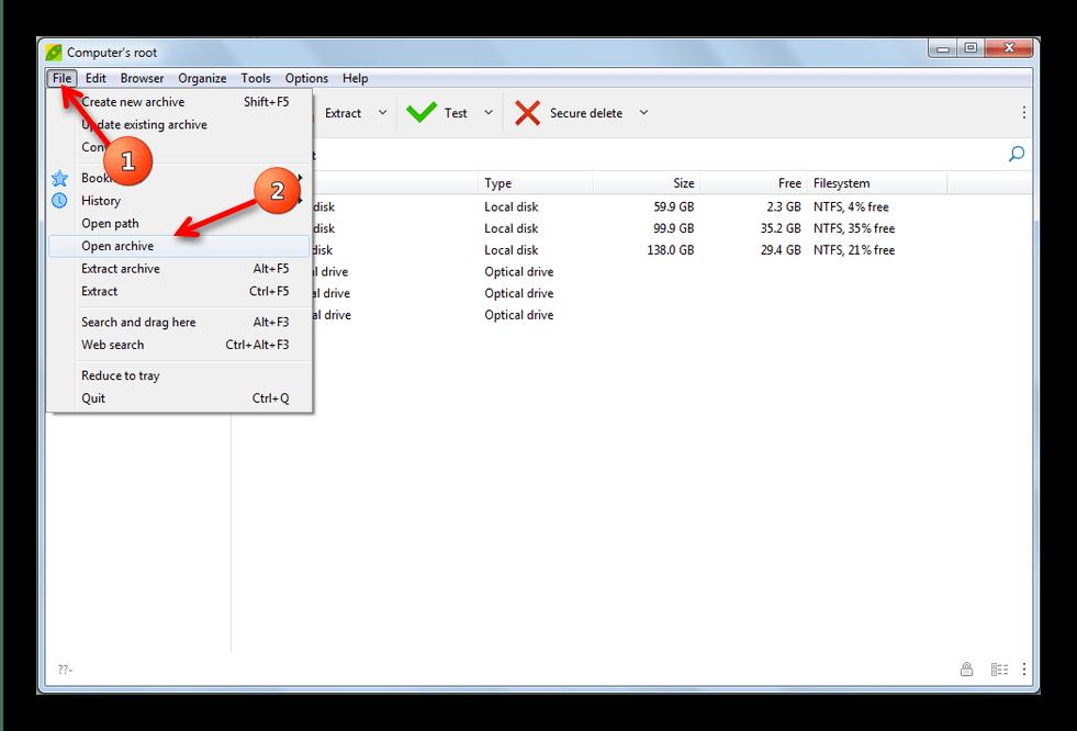 Основной способ открыть файл в PeaZip
