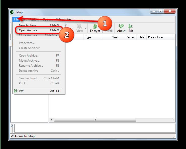 Открыть архив через меню файл FilZip