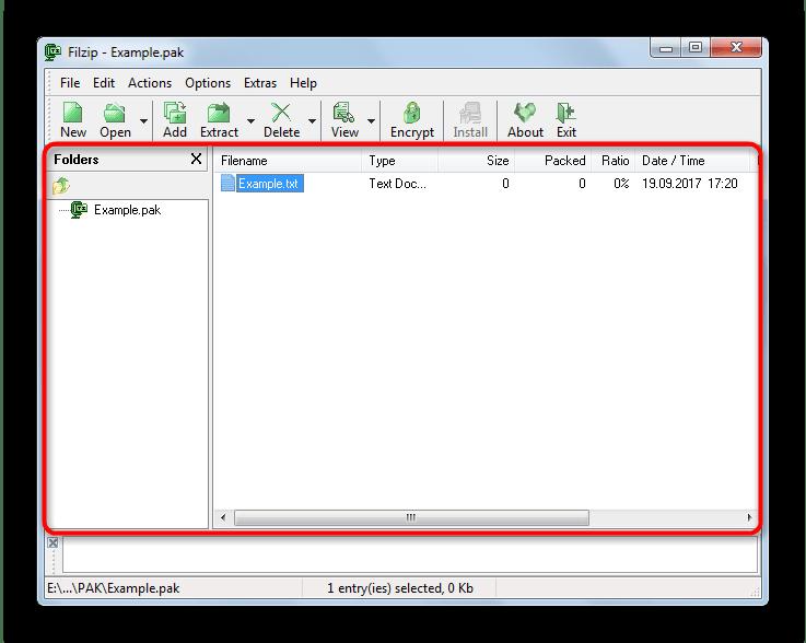 Открытый Pak в FilZip
