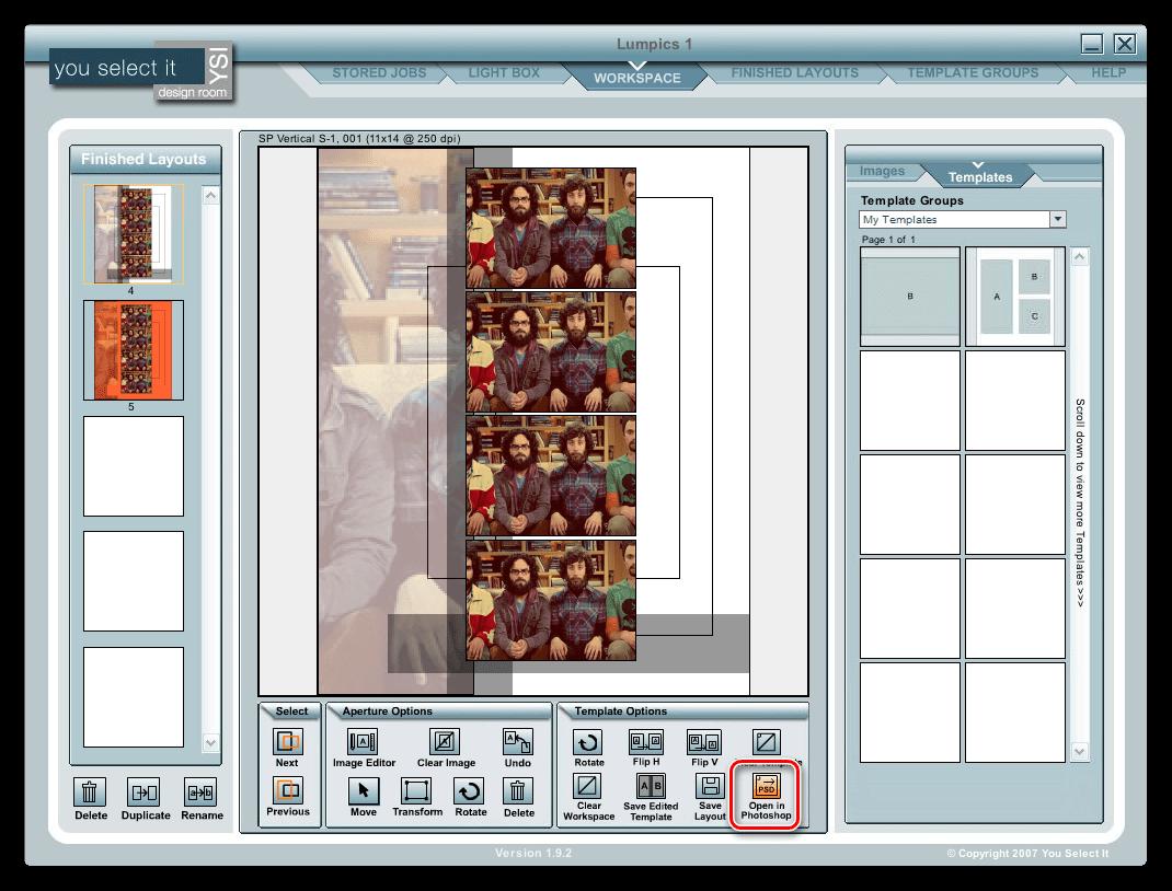 Передача страницы на обработку в Фотошоп в программе You Select It