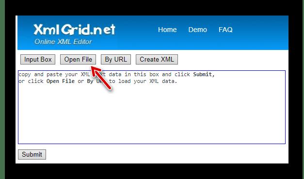 Переходим к форме загрузки XML-файла в XmlGrid с памяти компьютера