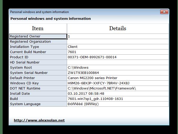 Персональная информация System Spec