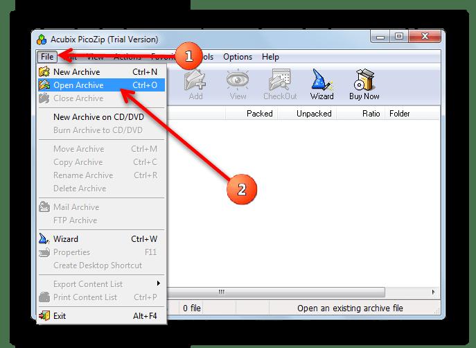 Первый способ открыть файл в PicoZip