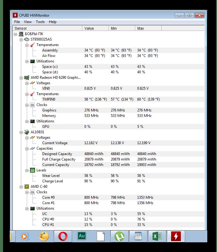 Показатели оборудования HWMonitor