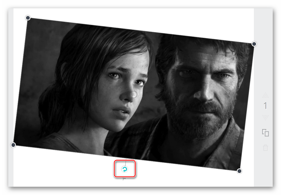 Поворот фото на сайте Canva с помощью маркера