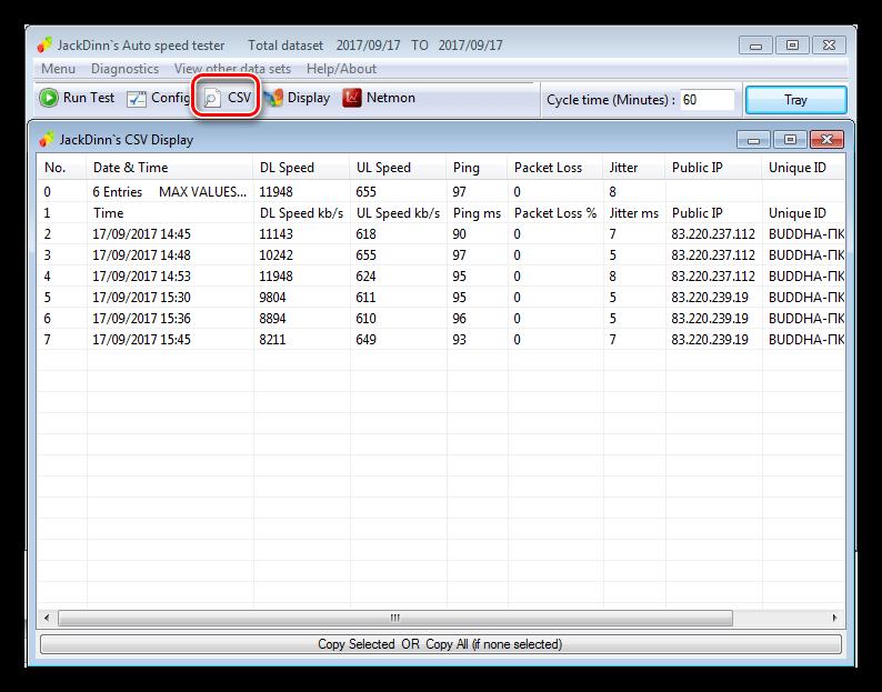 Просмотр данных измерений скорости в программе JDAST