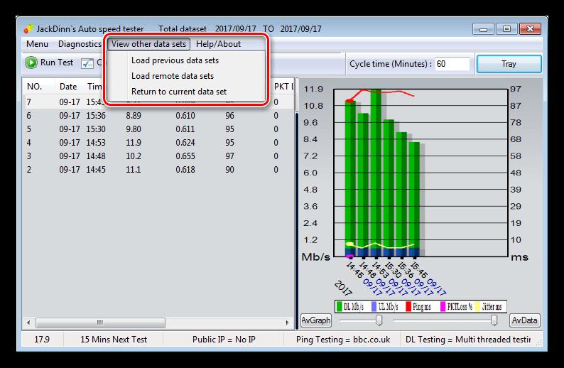 Просмотр прошлых данных измерений скорости в программе JDAST