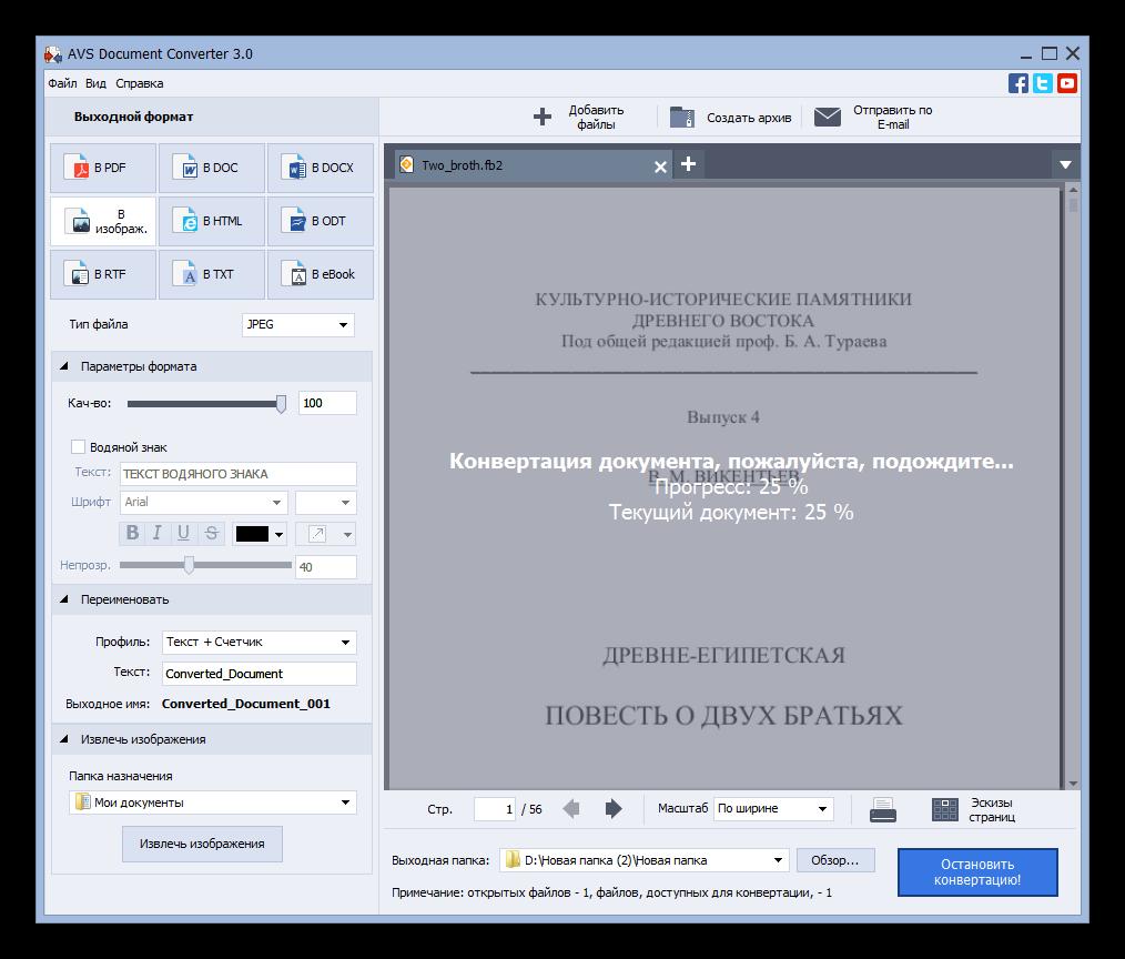 Процедура преобразования электронной книги FB2 в текстовый формат TXT в программе AVS Document Converter