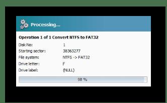 Процесс конвертации файловой системы NTFS в FAT32 программой Macrorit Disk Partition Expert