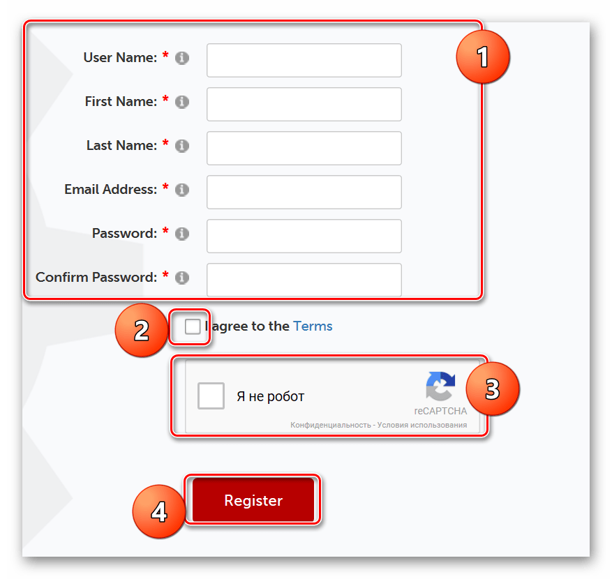 Процесс регистрации на сайте Flixpress