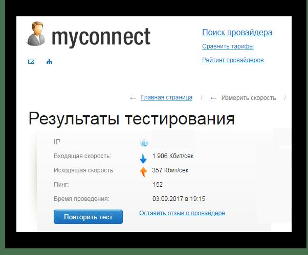 Проверка скорости интернета Myconnect.ru