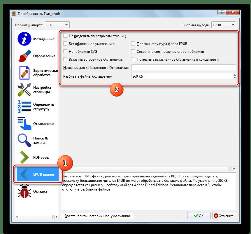 Раздел EPUP вывод настроек конвертирования в программе Calibre