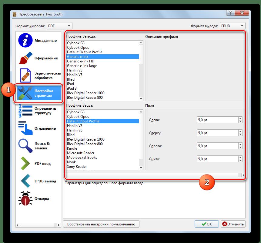 Раздел Настройка страницы окна настроек конвертирования в программе Calibre