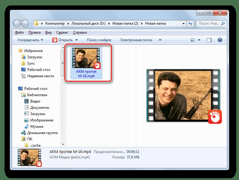 Размещение переформатированного файла в формате MP4 в Проводнике Windows