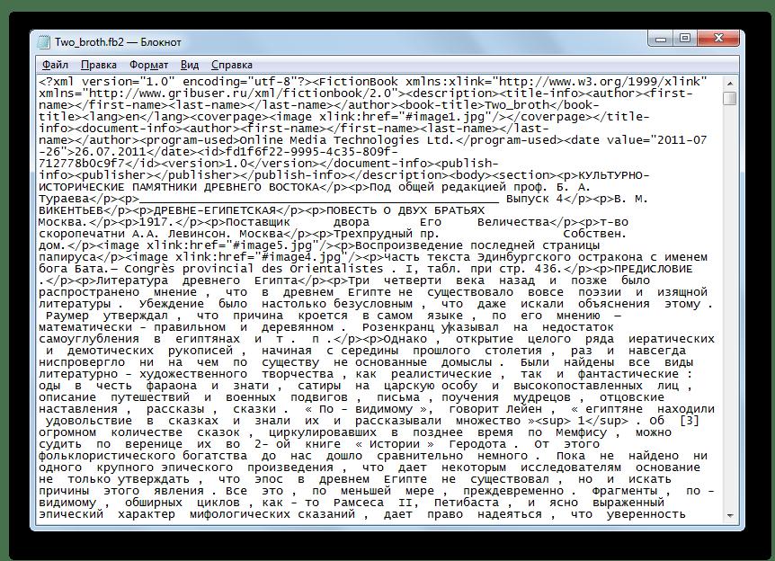 Содержимое файла FB2 отобразилось в программе Блокнот