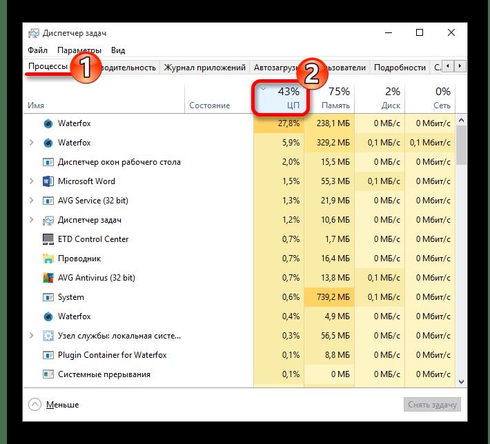 Сортировка процессов за нагрузкой Центрального Процессора в Диспетчер задач Windows 10