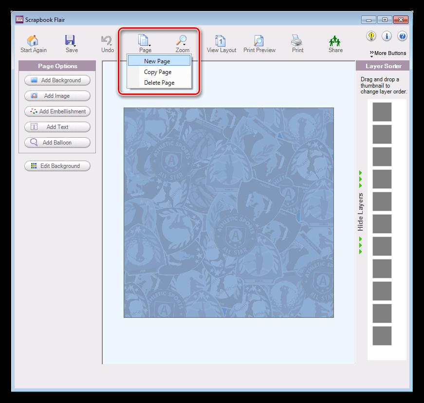 Создание новой страницы в проекте в программе Scrapbook Flair
