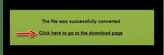 Ссылка для перехода к скачиванию преобразованного документа в Convert Files