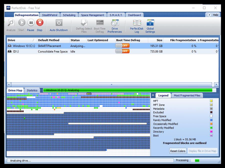 Стартовое анализирование программой жесткого диска после первого запуска PerfectDisk