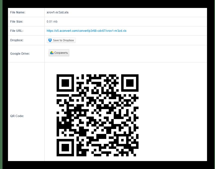 Страница информации о преобразованном файле в AConvert