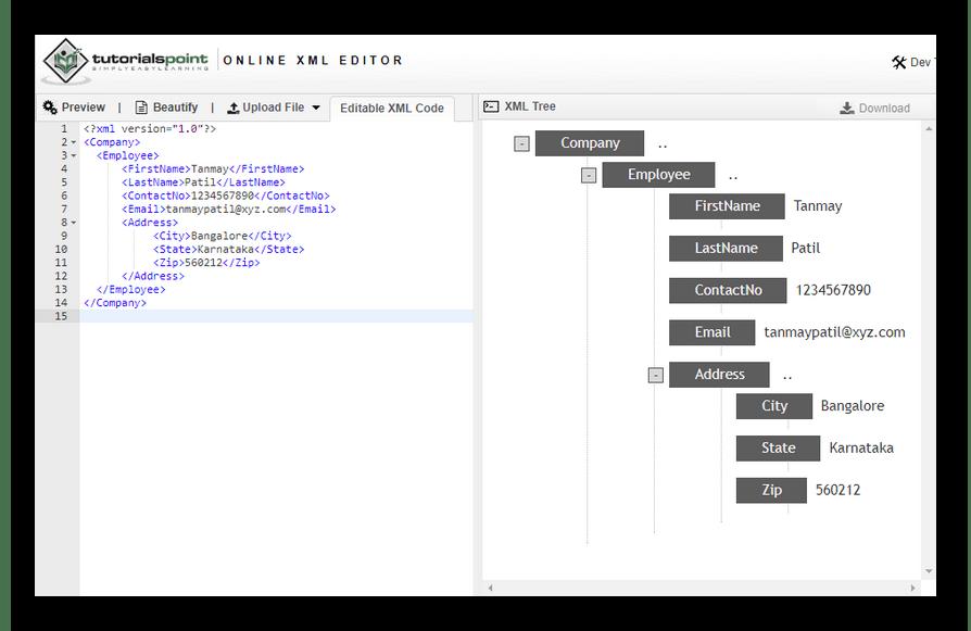 Так выглядит онлайн-редактор XML-файлов в сервисе TutorialsPoint
