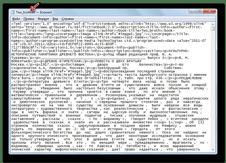 Текстовый файл сохранен в формате TXT в программе Блокнот