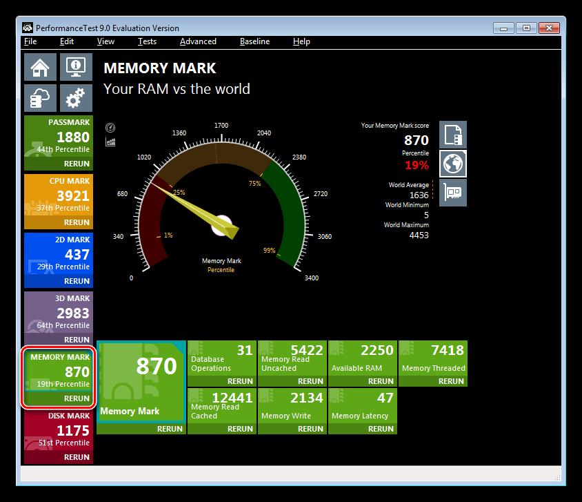 Тестирование производительности оперативной памяти в программе Passmark Performance Test