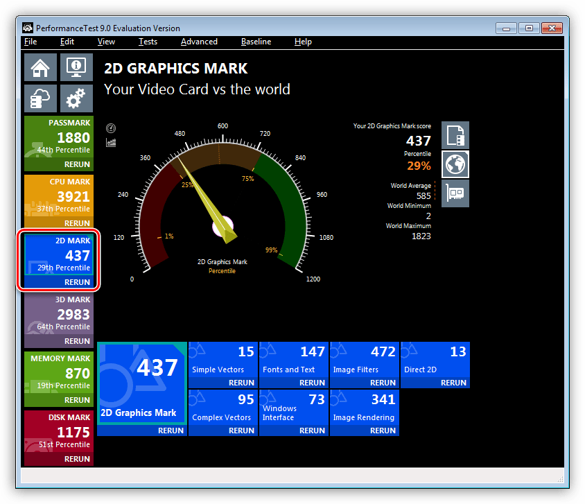 Тестирование производительности видеокарты в 2D режиме в программе Passmark Performance Test