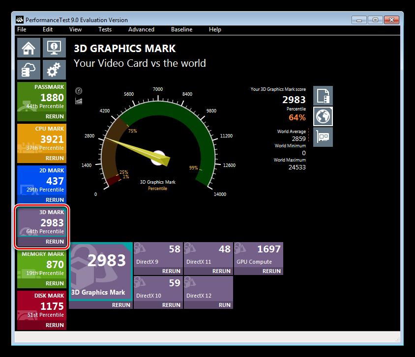 Тестирование производительности видеокарты в 3D режиме в программе Passmark Performance Test
