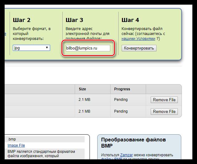 Указание адреса электронной почты в онлайн-сервисе Zamzar