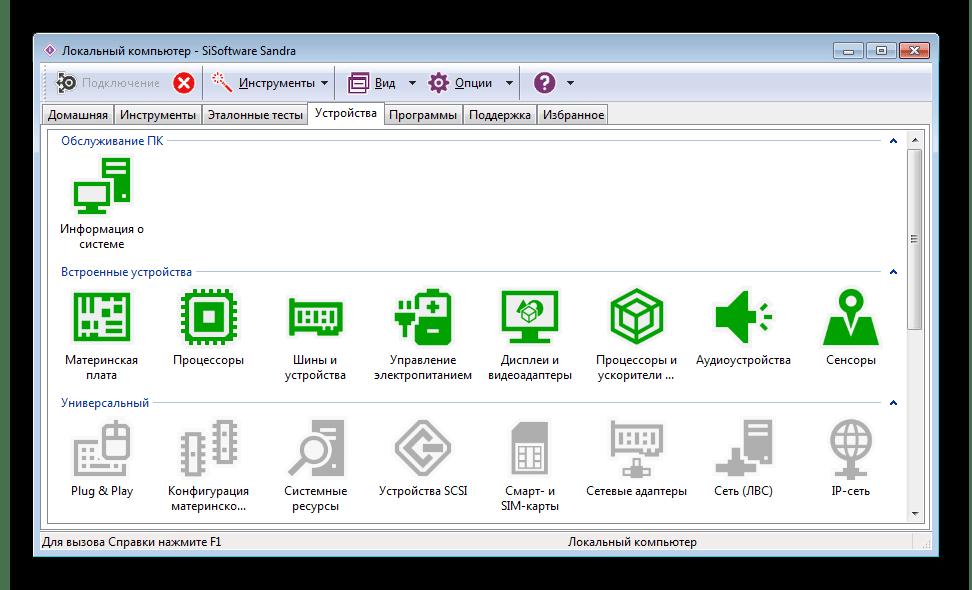 Устройства SiSoftware Sandra